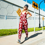 low crotch harem pants onesie jumpsuit by buddha pants - red sunshine print