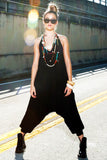 low crotch harem pants onesie jumpsuit by buddha pants - black