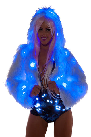 .Faux Fur Light Up Cropped Jacket - blue