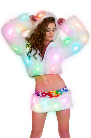 burner style light up faux fur leg warmers for rave wear