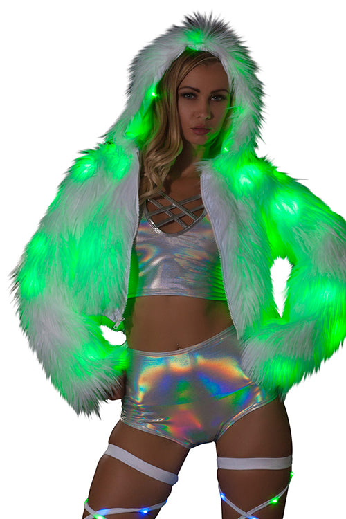 Faux Fur Light Up Cropped Jacket - green