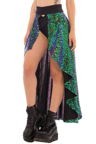 sequined skirt with wide waistband and tiered length by Little Black Diamond