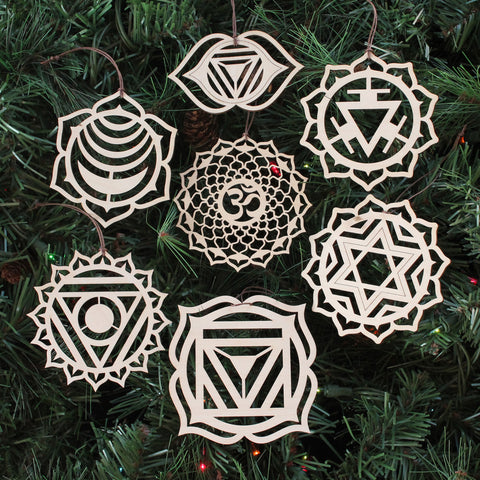 Chakra Symbol Ornaments - Set of Seven (one free)