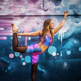 Cosmic Holographic Yoga Top - cotton candy