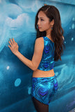 Cosmic Holographic Yoga Top - blue peacock