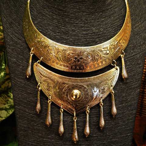 tribal style gold brass hmong tribe collar necklace