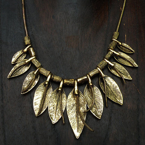 tribal style hmong tribe gold leaf necklace