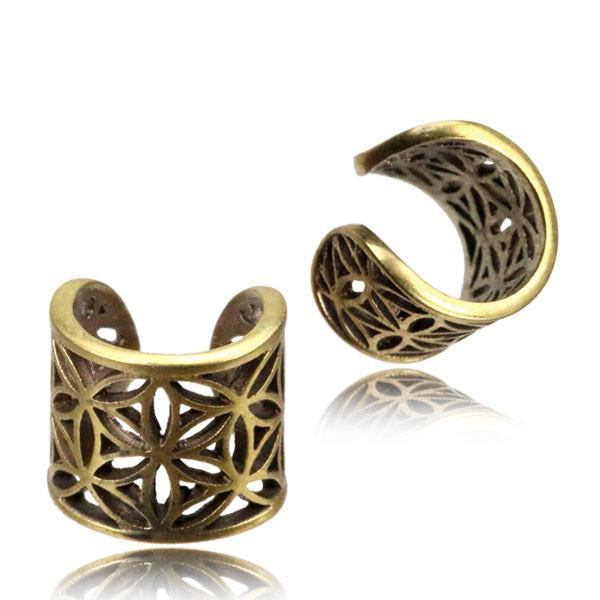 flower of life ear cuff, brass dread beads, sacred geometry toe ring