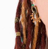 tribal hair jewelry, sacred geometry, brass dread beads