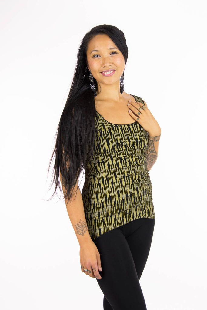 Dragonfly Tank with Ikat Print