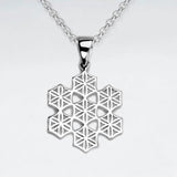 Flower of Life Snowflake Pendant - Silver