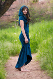 side view - womens full length romantic cotton dress with hood, bohemian dreamcatcher open back, short sleeved