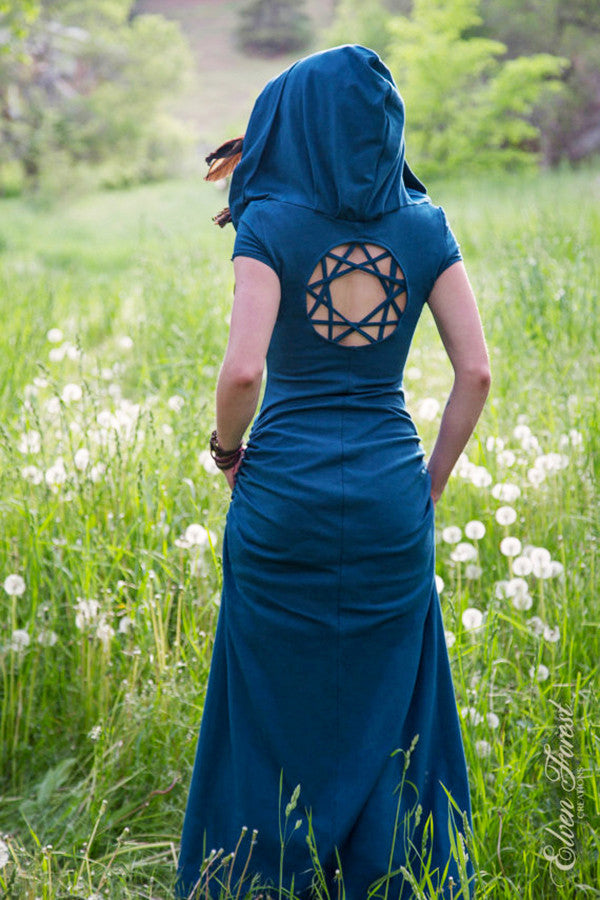 womens full length romantic cotton dress with hood, bohemian dreamcatcher open back, short sleeved