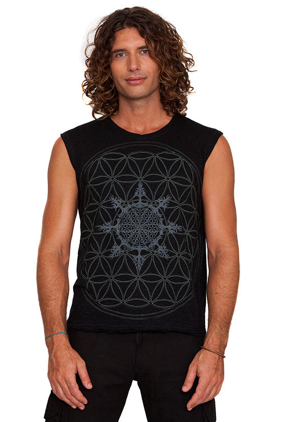 mens sacred geometry flower of life sleeveless tee t-shirt