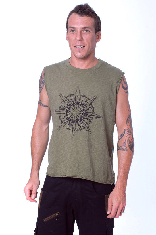 A favorite cut in mens festival wear, the sleeveless tee