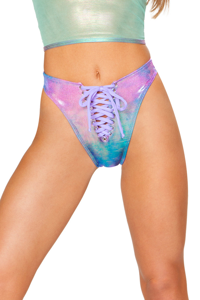 Lace-Up Swim Bottom - Metallic Cotton Kandi
