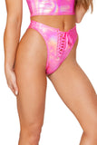 Lace-Up Swim Bottom - Metallic Pink Spectrum