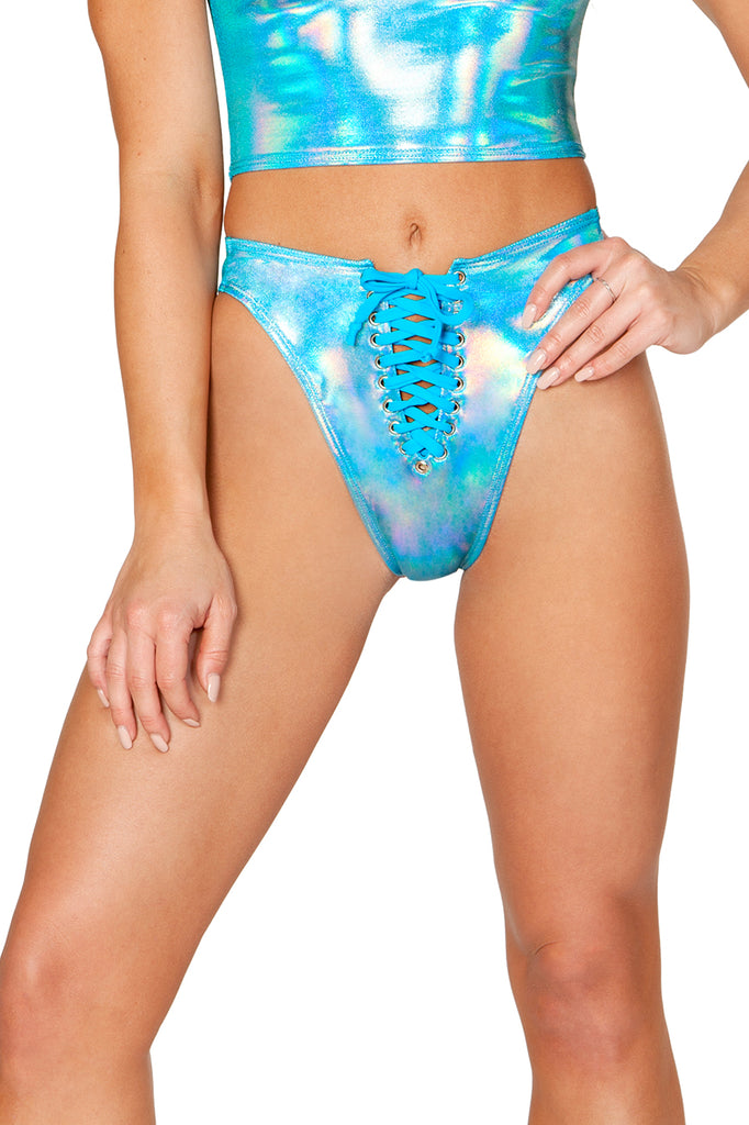 Lace-Up Swim Bottom - Turquoise Metallic