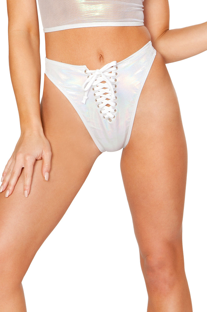 Lace-Up Swim Bottom - White Spectrum