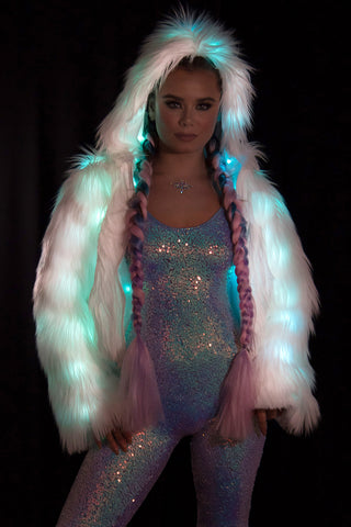 Multi-Color Light Up Faux Fur Jacket