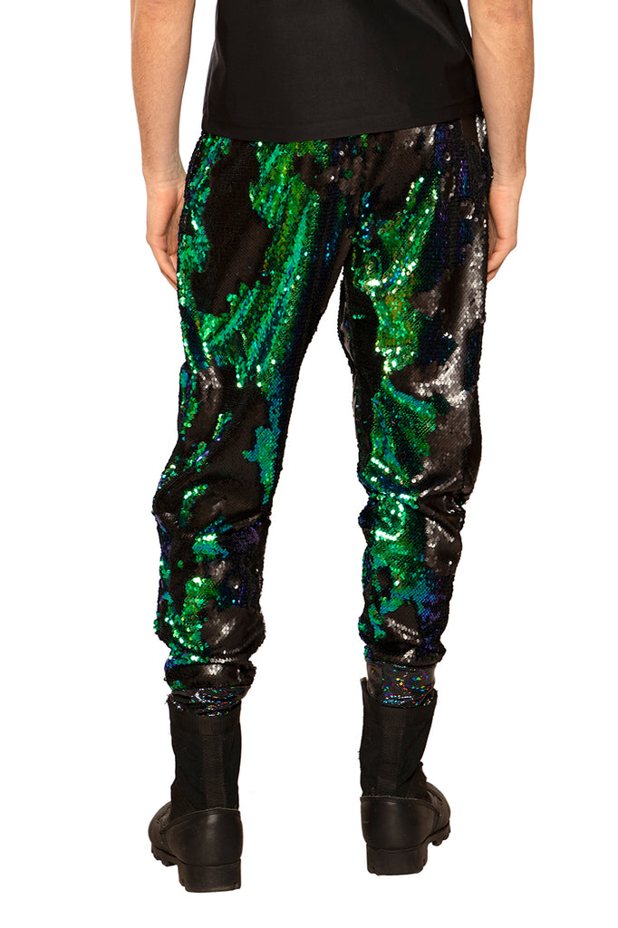 Blue Green Sequined Joggers - Unisex
