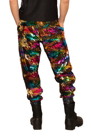 Sequined Joggers, Gold Rainbow  - Unisex