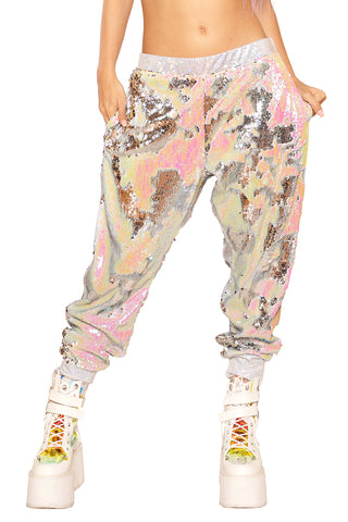 Silver Illusion Sequined Joggers - Unisex
