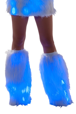 Faux Fur Light Up Legwarmers w/ Blue lights