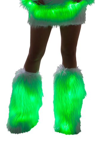 Faux Fur Light Up Legwarmers w/ Green lights