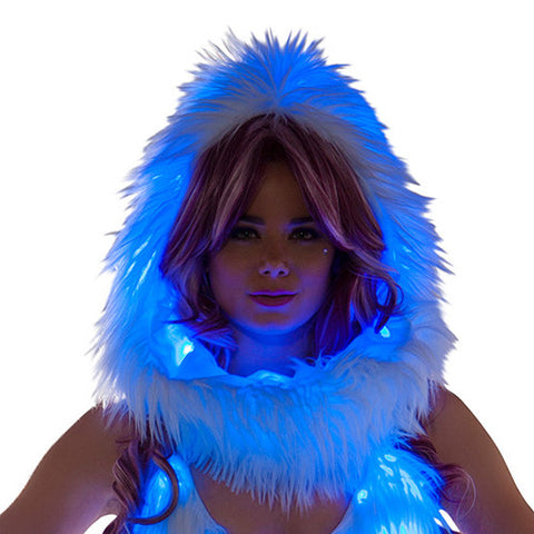 Light-Up Infinity Hood - White Faux Fur w/ Blue lights