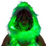 Light-Up Infinity Hood - White Faux Fur w/ Green lights