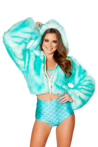Aqua Faux Fur Light Up Cropped Jacket