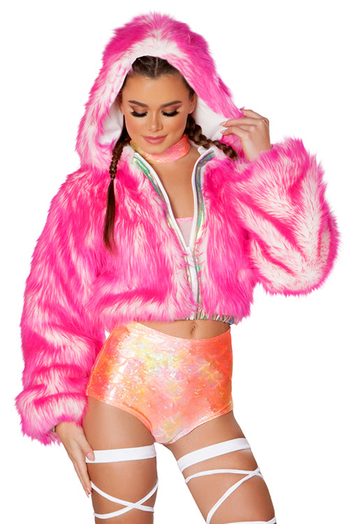 Pink Faux Fur Light Up Cropped Jacket