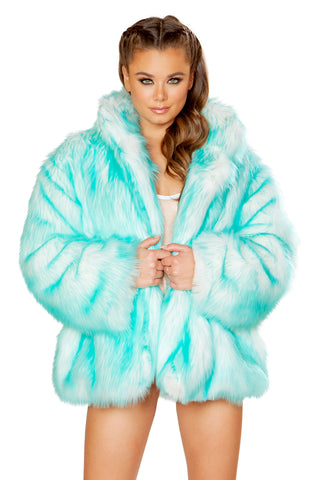 Faux Fur Hip Length Coat - aquamarine