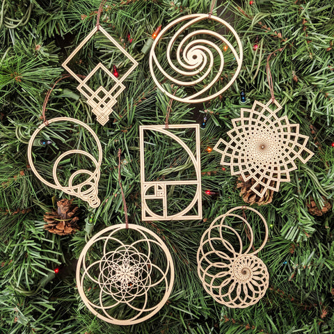 Fibonacci Holiday Ornaments - Set of Seven (one free)