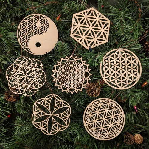 Flower of Life Ornaments - Set of Seven (one free)