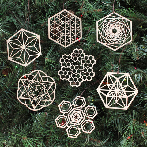 Hexagon Ornaments - Set of Seven (one free)