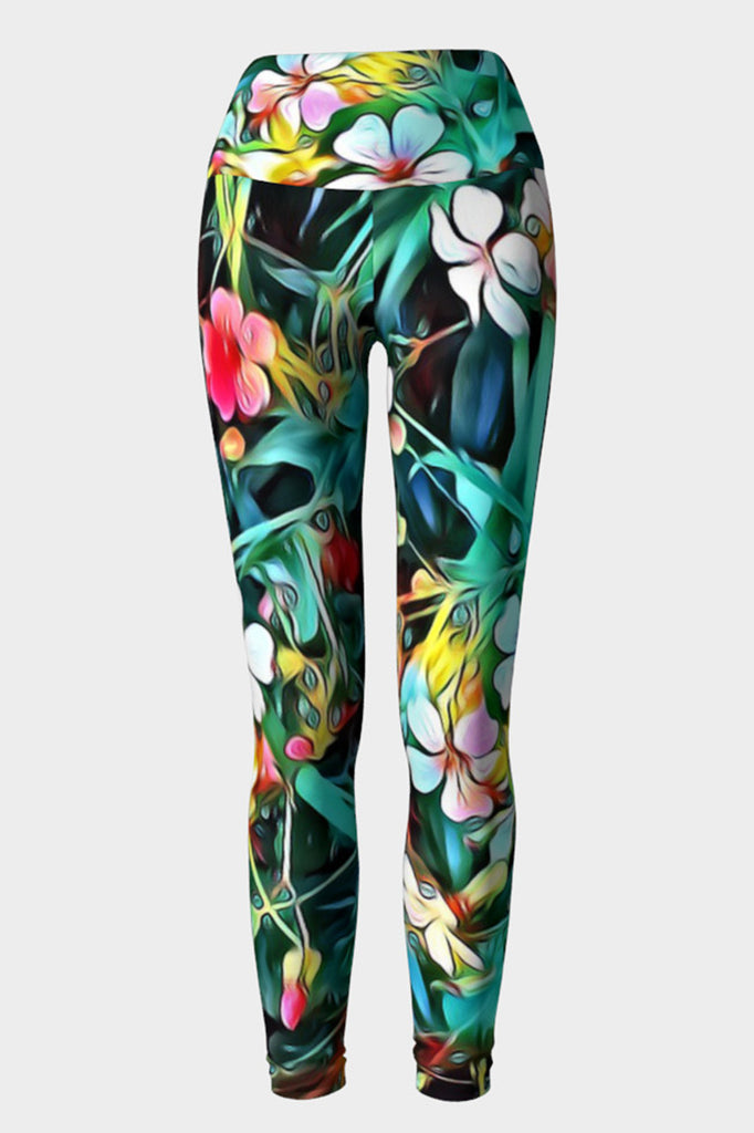 bohemian style floral yoga tights with wide double fold waist band.