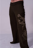 mens organic cotton yoga pants with gold dragon print