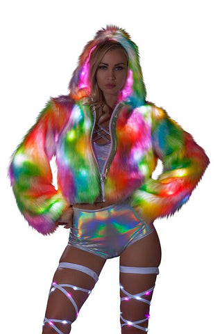 Faux Fur Light Up Cropped Jacket - rainbow sherbert