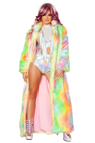 Faux Fur Light Up Full Length Coat - rainbow sherbert