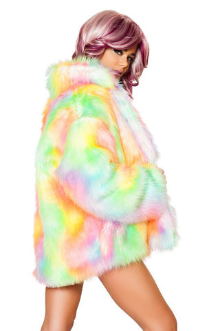 .Faux Fur Light Up Hip Length Jacket - rainbow sherbert