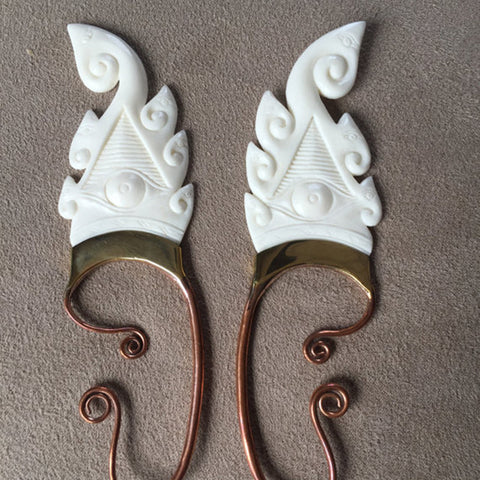 hand carved white bone Ganesh ears for your bohemian cosplay outfit