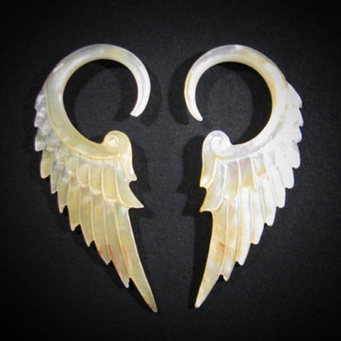 tribal style gauged mother of pearl winged earrings