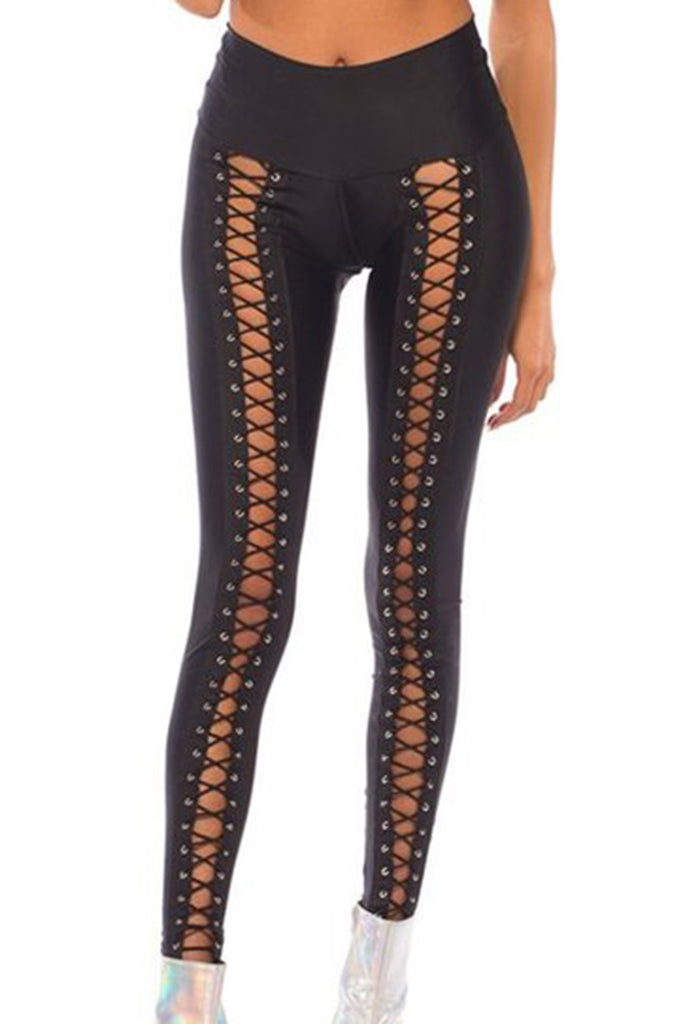 Lace Up Leggings in Black