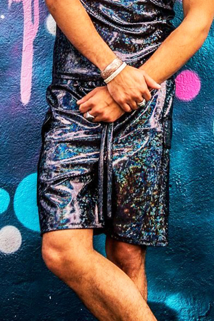 Men's Cosmic Holographic Shorts - blue peacock