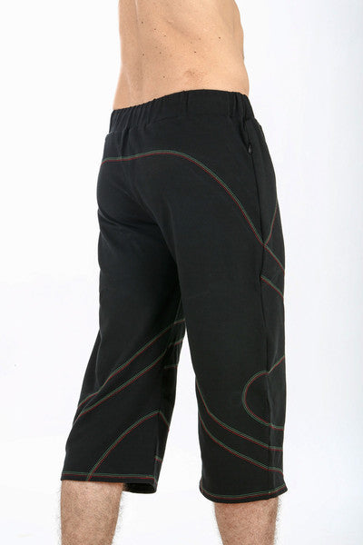 mens festival style burning man cotton yoga shorts by om gaia tree