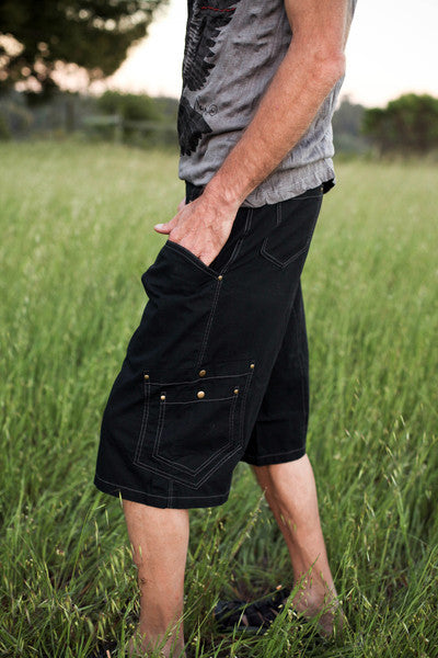mens festival style summer shorts in cotton with pockets