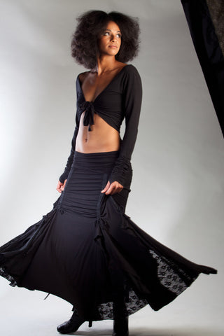 Our black tribal gypsy Flamenco Skirt will be your favorite dance skirt