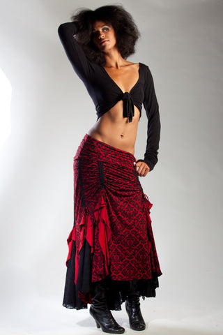 Our red and black tribal gypsy Flamenco Skirt will be your favorite dance skirt